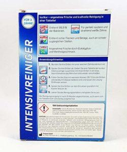 Inhaltsstoffe und Anwendungsbeschreibung des Aldi Gebissreiniger Kurikur finden sich auf der Rückseite der Verpackung.